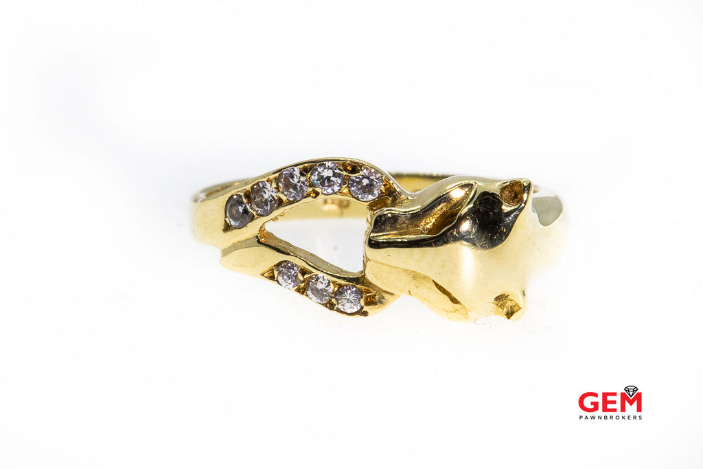 Cubic Zirconia Panther Head 14K 585 Yellow Gold CZ Ring Size 7 1/4