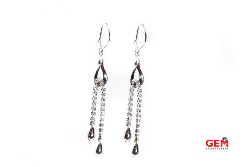 Fringe Chandaliere Drop Cubic Zirconia Earrings Fish Hook Back 14Kt White Gold 585