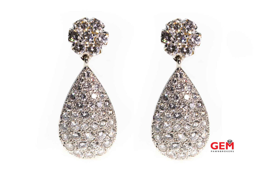 Vintage Pave Diamond Tear Drop 14K Two Tone Yellow & White Gold Earrings