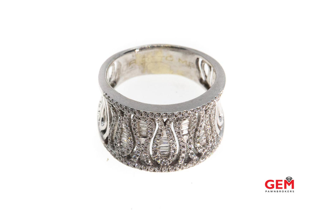 Baguette & Round Diamond Cluster Concave Zig Zag Cocktail 14K 585 White Gold Ring Size 8 1/2