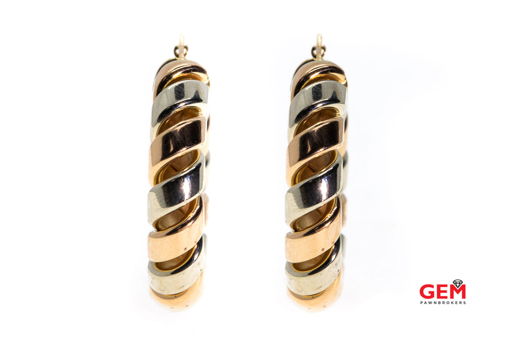 Baraka Italy Twist Tri Color 30mm Hoops 18K Rose Yellow & White Gold Earrings