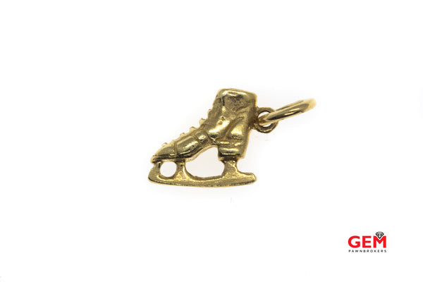 Ice Skate Winter Sports Charm Pendant Skating 14k 585 Yellow Gold