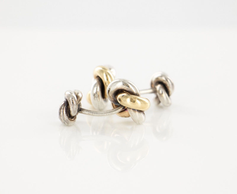 14 KT Yellow Gold 925 Sterling Silver Knot Cufflinks
