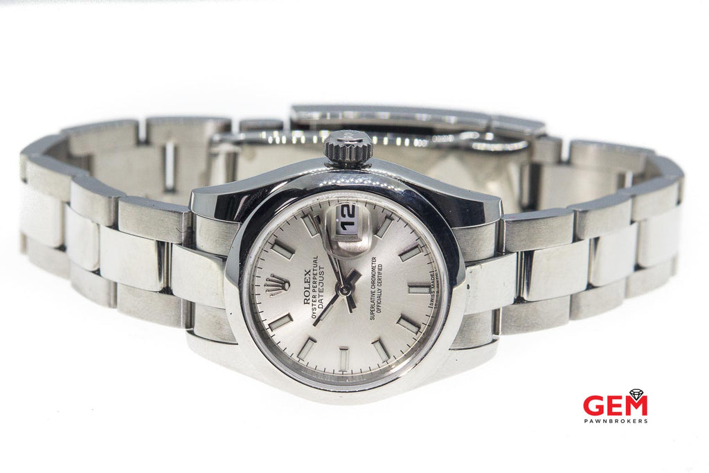Rolex 2014 Lady Datejust 179160 Silver 26mm Dial SS Oyster Band Watch