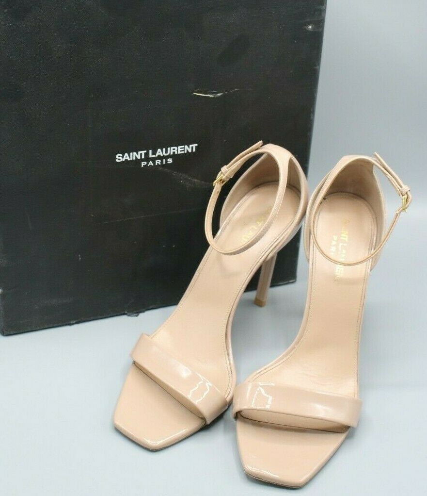 Saint Laurent YSL Amber Ankle Strap Beige Patent Leather Heels Size 38 EUR/7.5US