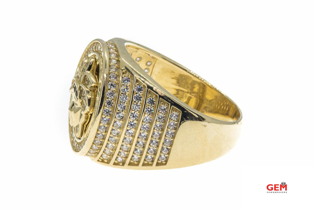 Medusa Head Cubic Zirconia Pave Signet 14K 585 Yellow Gold Ring Size 10