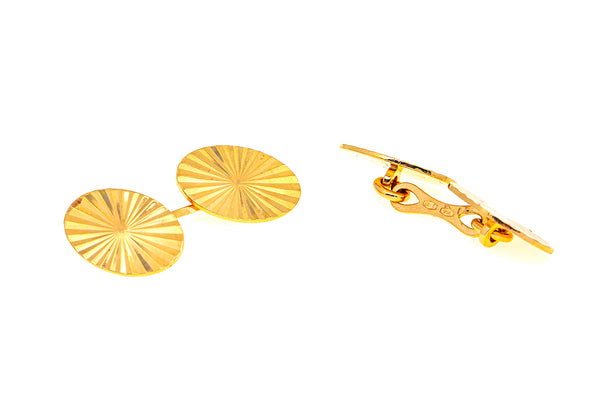 Italy UnoAErre Classic Sunburst Oval Cuff Links 18K 750 Yellow Gold Cufflinks