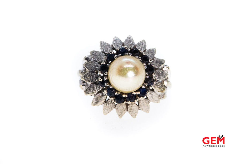 Vintage Freshwater Pearl & Sapphire Cluster Flower 14K 585 White Gold Ring Size 5 3/4