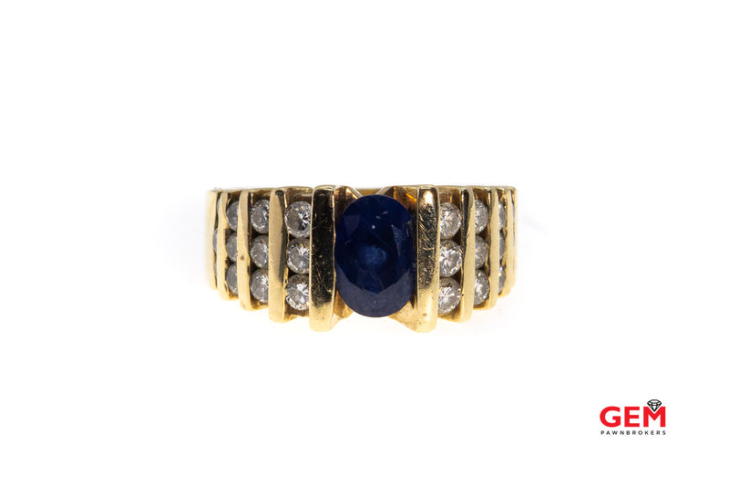 Natural Oval Sapphire & Diamond Tension Set Band 14K 585 Yellow Gold Ring Size 6