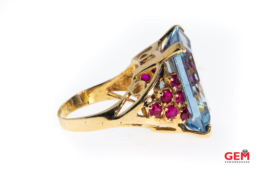 Retro Large Emerald Cut Blue Topaz & Pink Sapphire Cocktail 14K 585 Yellow Gold Cluster Ring Size 7