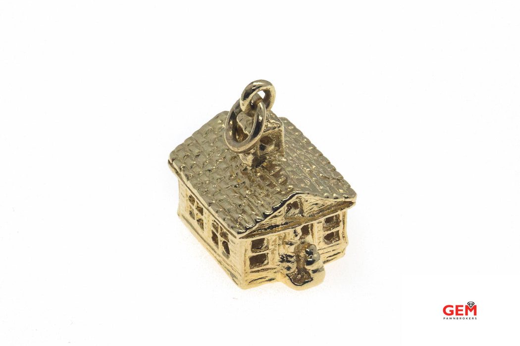 Little House 3D Love Shack Charm 14K 585 Yellow Gold Sweet Home Pendant