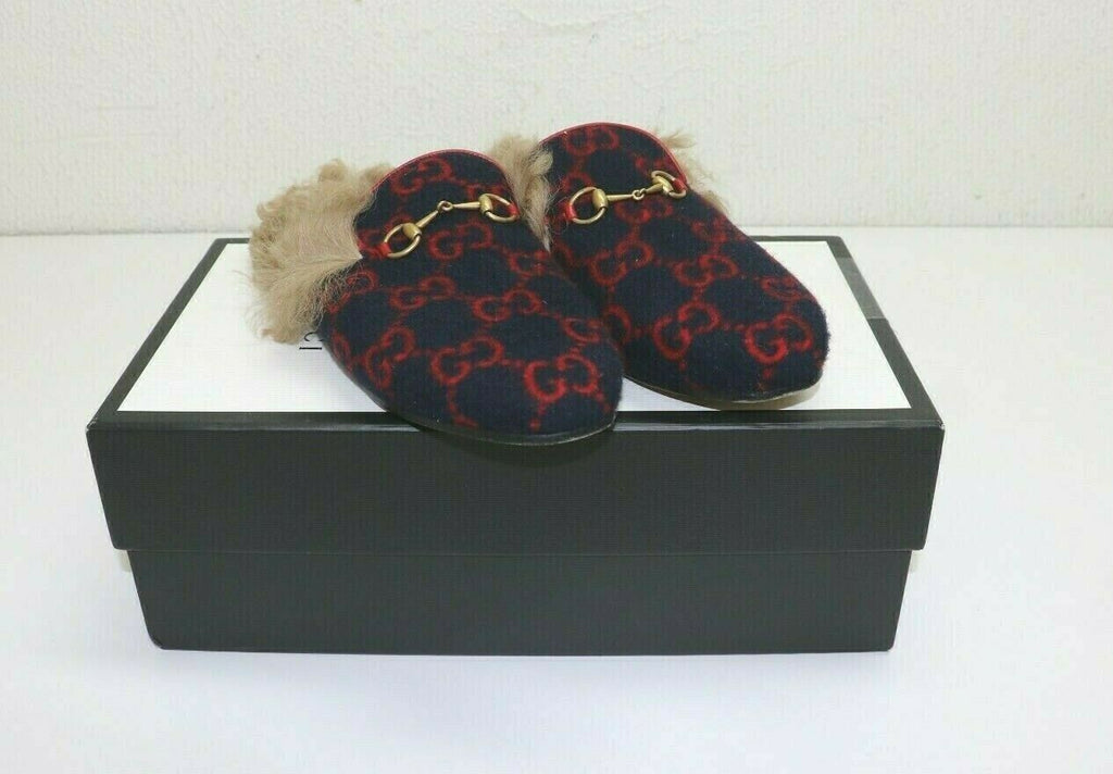 Gucci Women's Princetown GG wool slipper Blue and red GG wool - IT 40 US 6.5