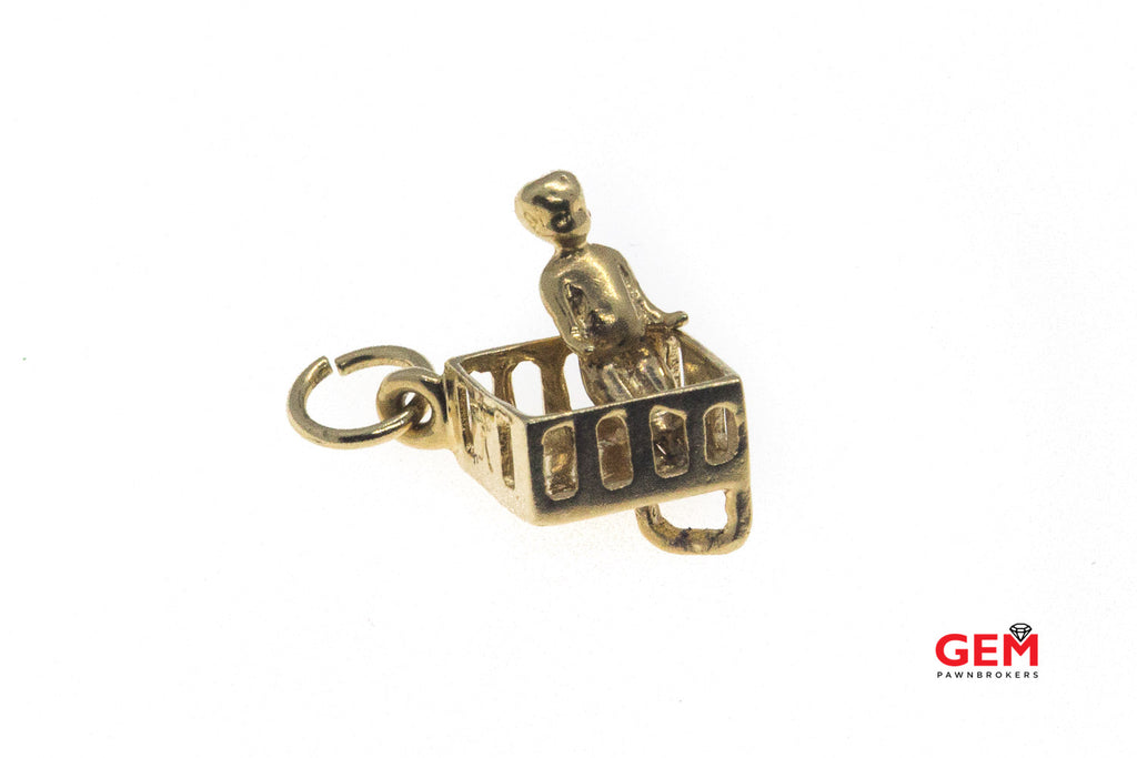 Baby Toddler Play Pen Crib Charm Solid 14K 585 Yellow Gold Pendant