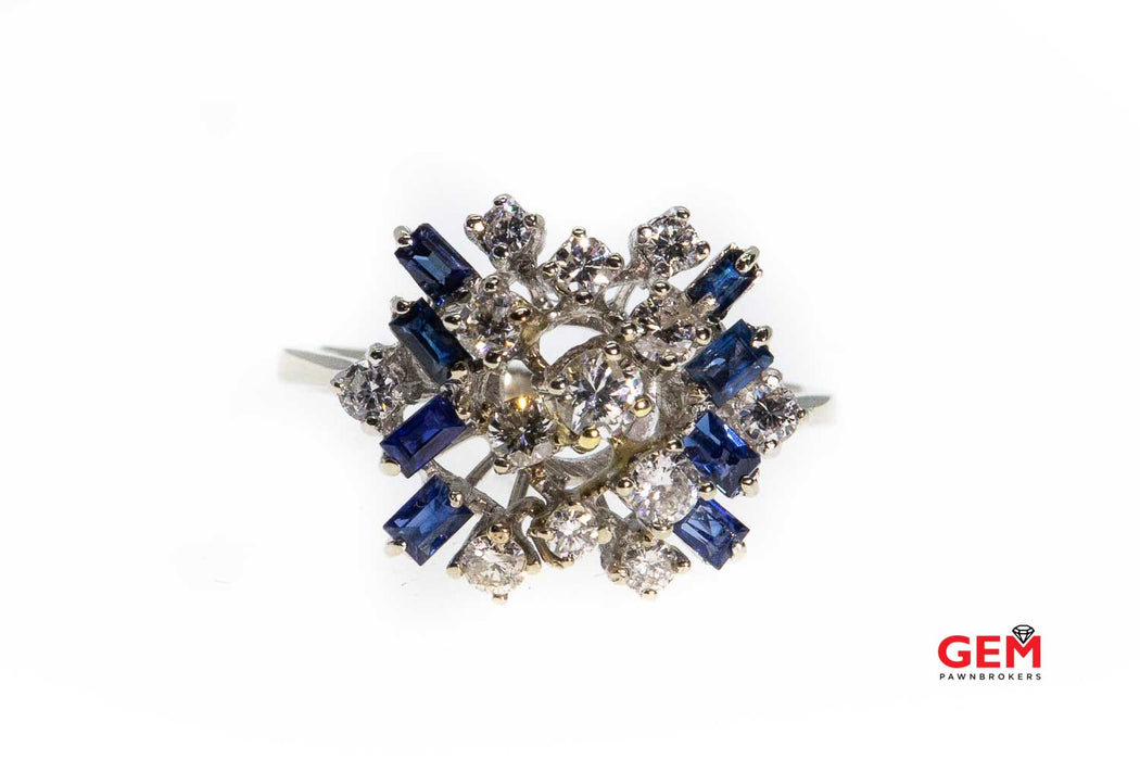 Diamond Sapphire Abstract Cluster Ring 14k 585 White Gold Ring Size 8.5