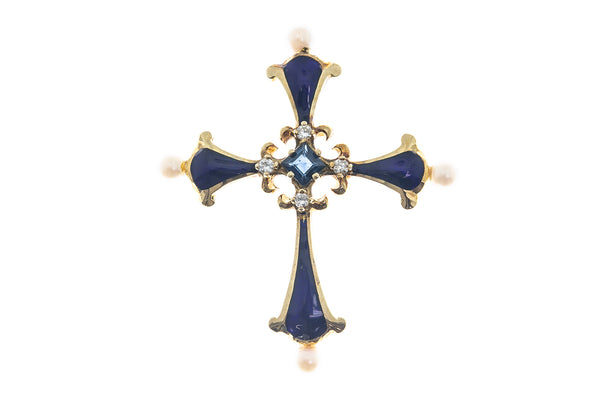 Enameled Pearl Diamond Sapphire Trilobed Cross Charm 14K 585 Yellow Gold Pendant