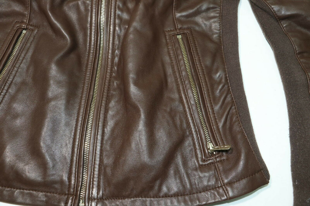 Kenneth Cole: Brown 100% Leather & Spandex Jacket - RN54163
