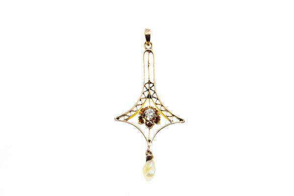 Masonic Plumb Flower Diamond & Pearl Charm 10K 417 Yellow Gold Pendant