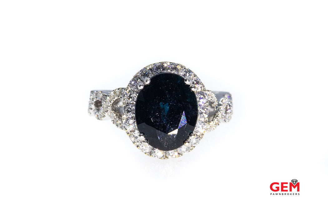 KT Montana Sapphire & Diamond Pave Halo 18K 750 White Gold Ring Size 6 1/2