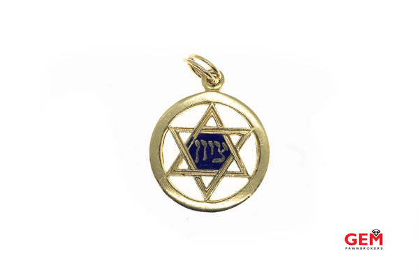 AA Star Of David Kabbalah Yiddish Prayer Psalm Blue Enamel Charm Solid 14K 585 Yellow Gold Pendant