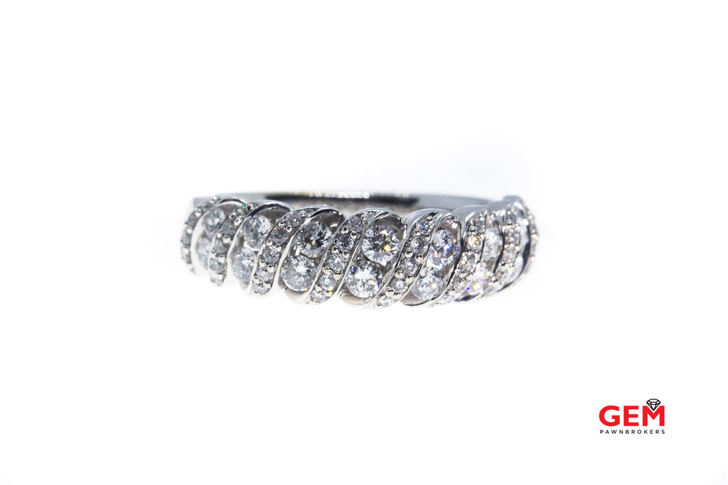 Diamond Twisted Cluster Band 14K 585 White Gold Ring Size 6 3/4