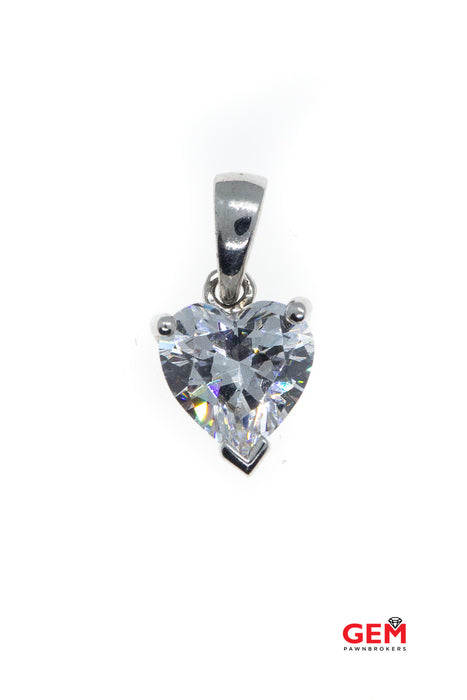 Large Cubic Zirconia Love Heart Drop Charm 925 Sterling Silver CZ Pendant