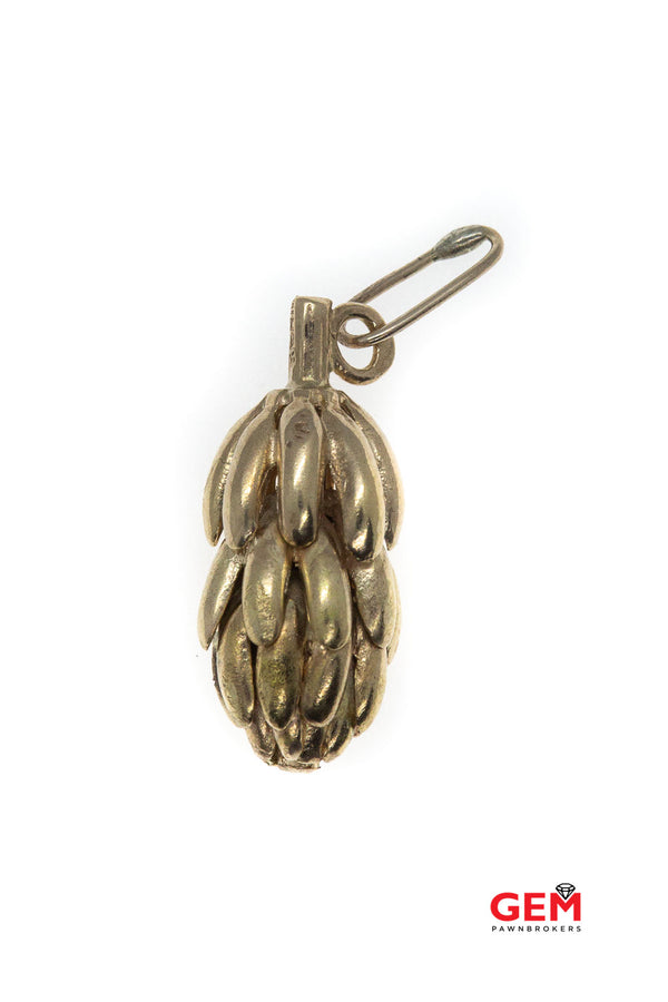 Antique English London 9K 375 Yellow Gold Platano Banana Tree Charm Pendant