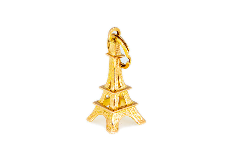Italian Charm Gustave Eiffel Tower Paris Monument 14K 585 Yellow Gold Pendant