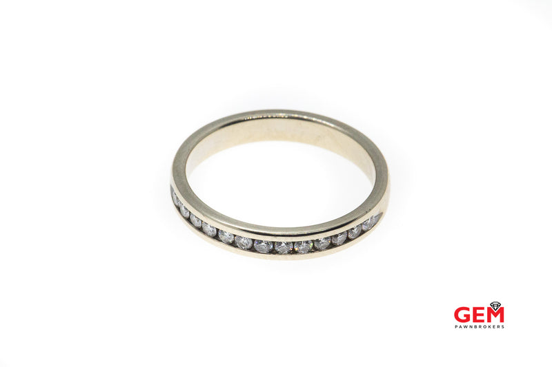 Stackable Half Diamond Wedding Band Solid 14K 585 White Gold Ring Size 6 1/2