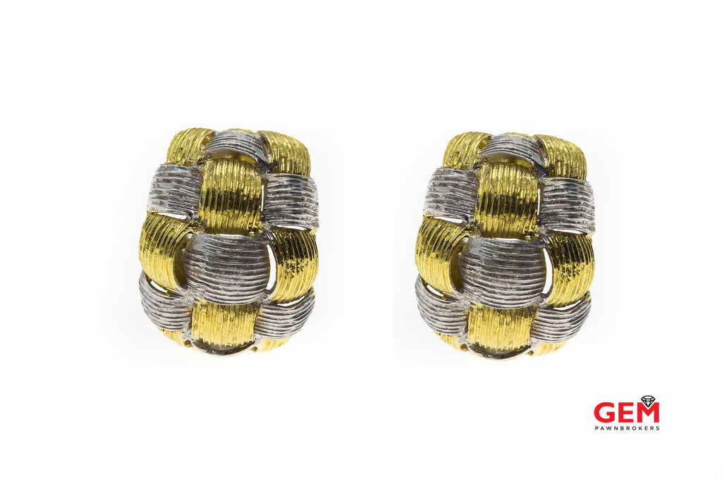 Appassionata Carved Italian Interwoven 18K 750 Yellow & White Gold Earrings