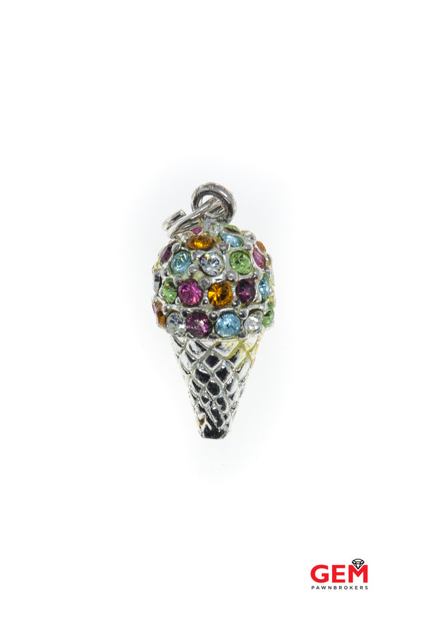 Multi Color Rainbow Crystal Ice Cream Treat Cone Dessert Drop Charm 925 Sterling Silver Pendant