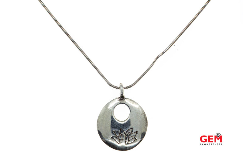 "Satya Snake Link Chain Round Lotus Flower Engraved Pendant 925 Sterling Silver 16.4"" Necklace"