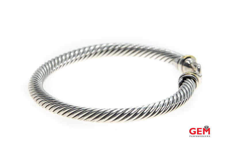 David Yurman Cable Classics 5mm Buckle 925 Sterling Silver & 18K 750 DY Bracelet