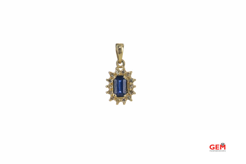 RJM Royal Jewelry Sapphire & Diamond Cluster Charm 14K 585 Yellow Gold Pendant