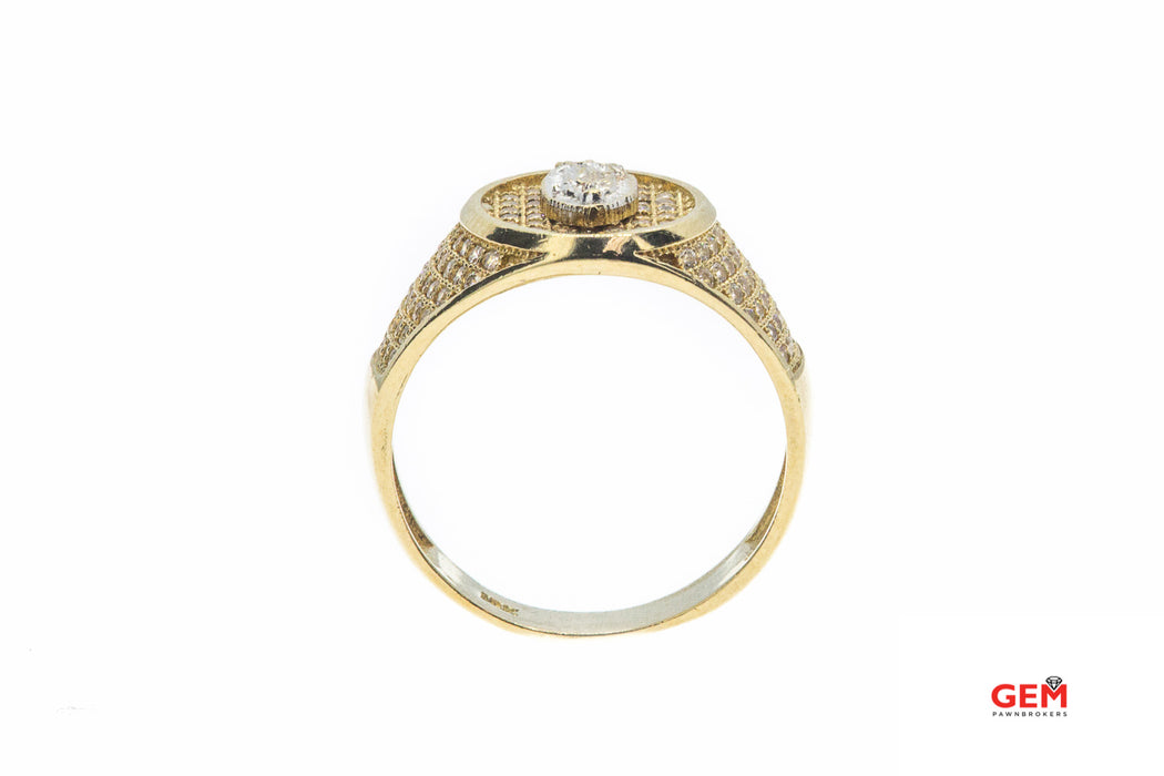 Cubic Zirconia Religious Virgin Mary Signet 10K 417 Yellow Gold Ring Size 10 1/2