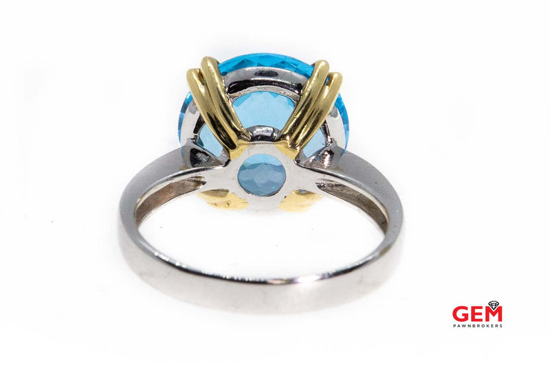 Effy Natural Blue Topaz 14K 585 White & Yellow Gold Ring Size 7 1/4