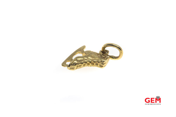 Ice Skating Winter Sports Charm Pendant Skating Boot 14k 585 Yellow Gold