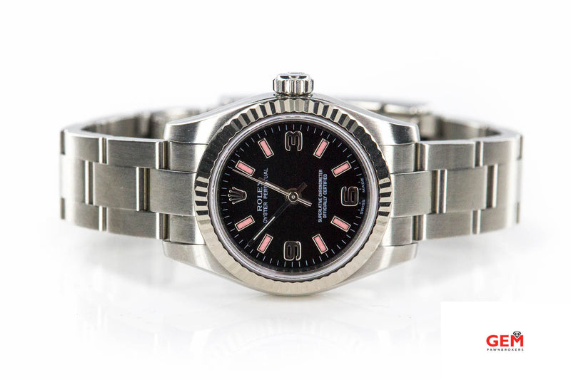 Rolex Oyster Perpetual 176234 26mm 2008 Black & Pink Dial Fluted Bezel Steel Watch B&P
