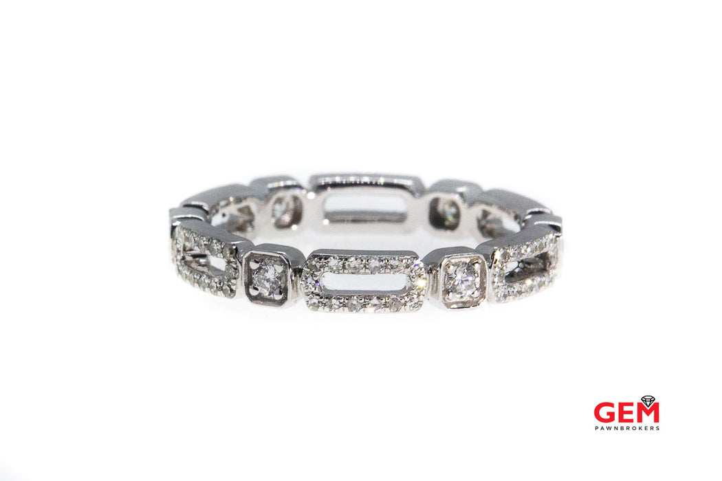 KC Designs Stackable Diamond Pave Station Band 14K 585 White Gold Designer Ring Size 7