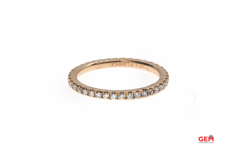 Chateau Full Diamond Pave Eternity Stackable Band 14K 585 Rose Gold Ring Size 5