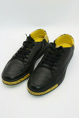 Gucci Black Yellow Leather Python Trim Men's Sneakers Size 12