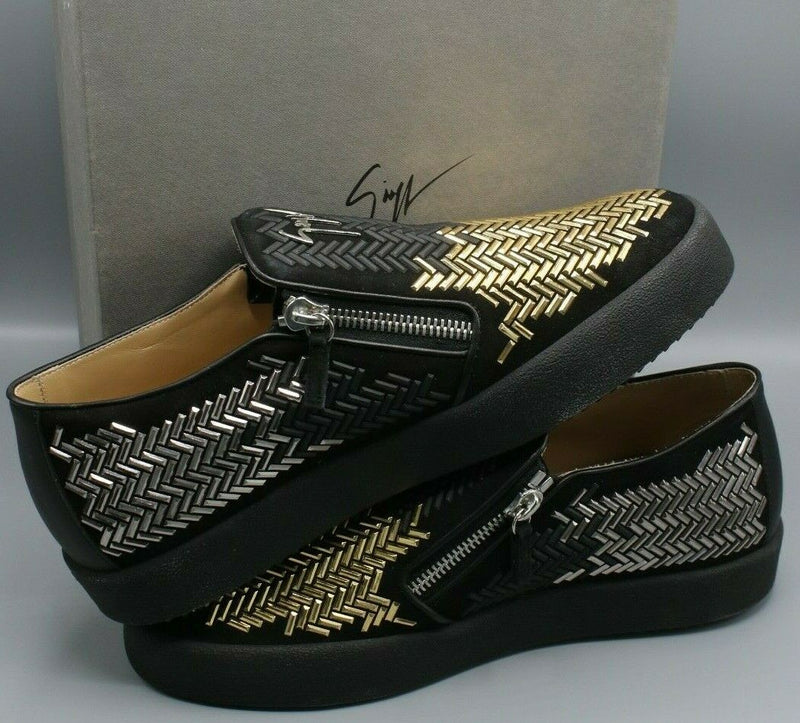 Giuseppe Zanotti Black Stud Embellished Suede May London Slip On Sneakers 46/12