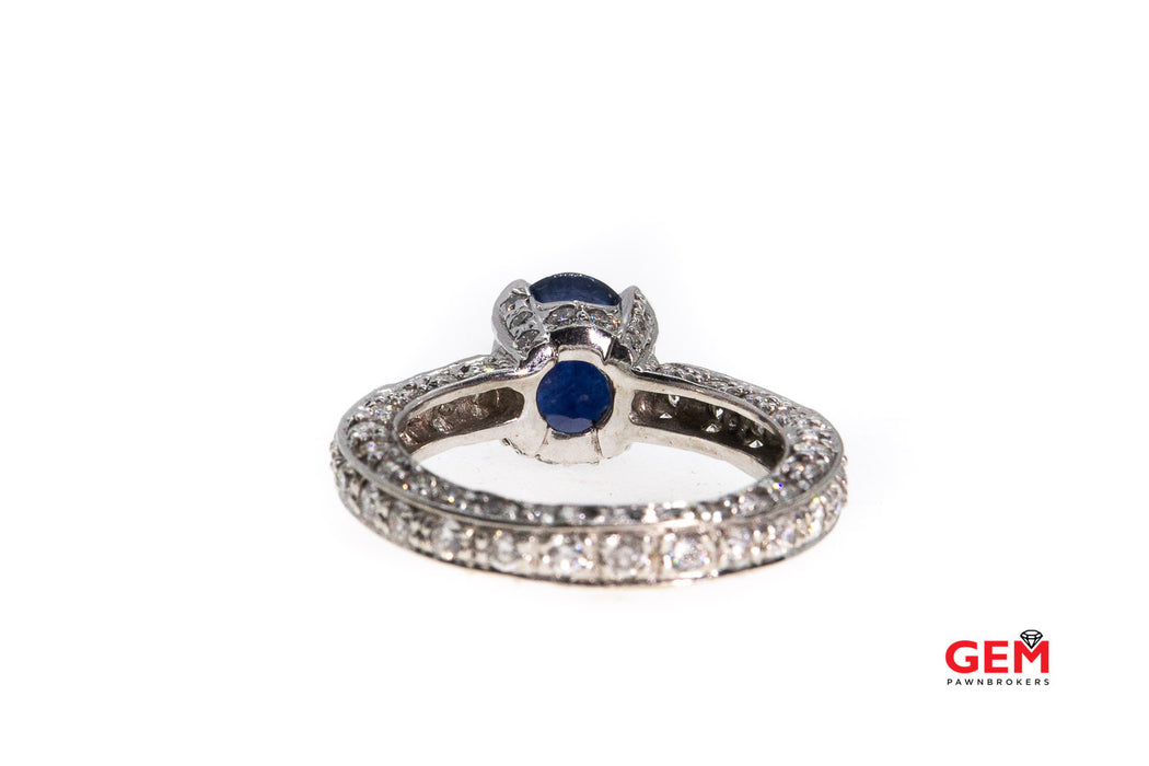 Natural Blue Oval Sapphire & Eternity Diamond Pave 14K 585 White Gold Ring Size 8 1/2