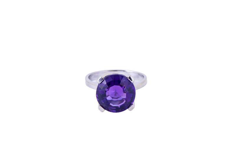 Solitaire Natural Amethyst Band 14K 585 White Gold Ring Size 7