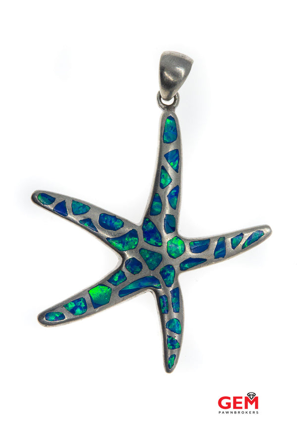 Landing Company Opal Inlay Starfish Nautical Animal Sea Star Drop Charm 925 Sterling Silver Pendant