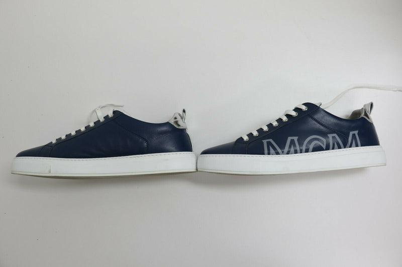 MCM Estate Blue Leather Men's Sneakers | [MEX9AMM16-143] | Size US 12, EUR 45