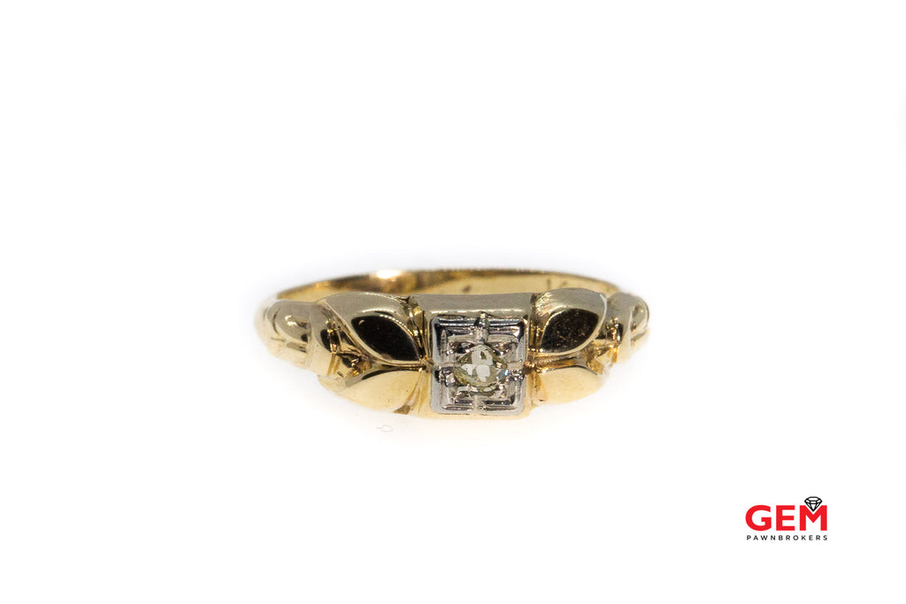 Art Deco Antique Fancy Yellow Diamond Solitaire 14K 585 Yellow Gold Ring Size 5 1/2