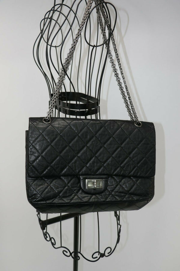 Chanel Quilted Leather 2.55 Double Flap Bag w/ Chain Strap