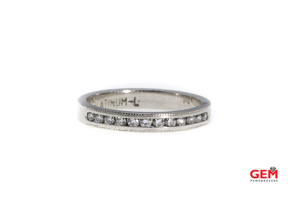 Milgrain Accent Stackable Diamond Wedding Band Solid 950 Platinum Ring Size 6 1/2