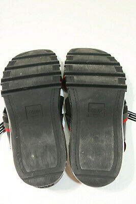 Fendi Men's Logo Sandals With Air Soles Black Red Size 10
