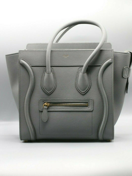 Celine Womens Micro Luggage Bag in Drummed Calfskin in Kohl